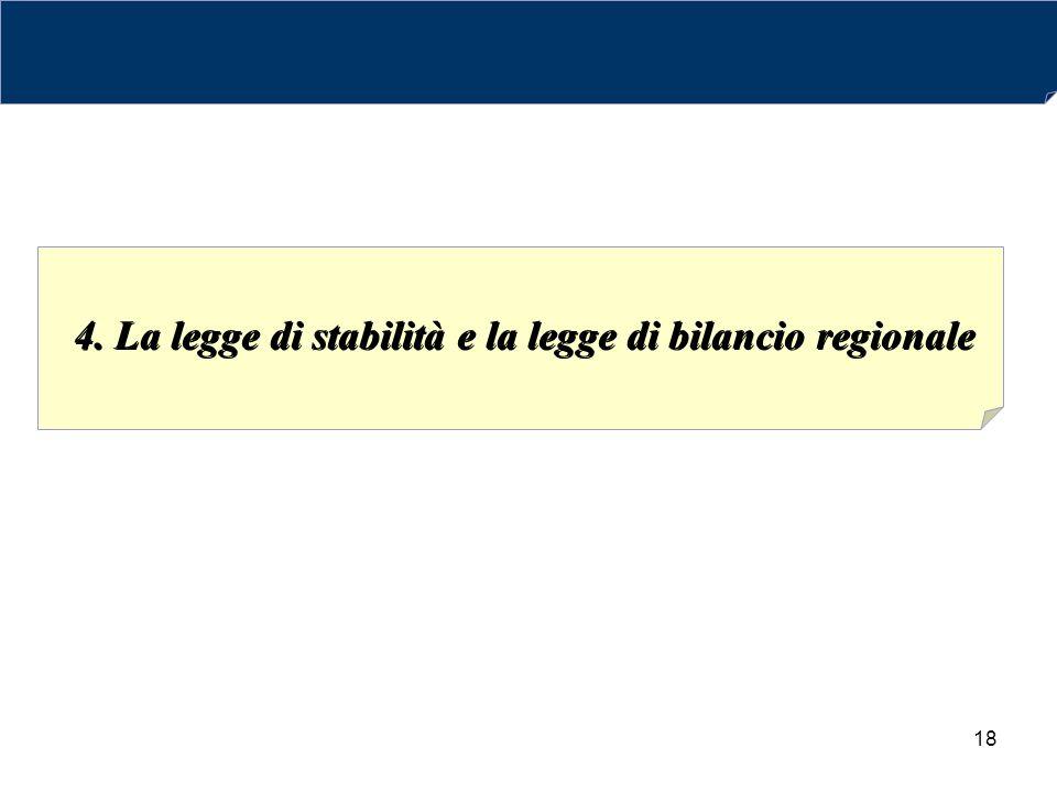18 4. La legge di stabilità e la legge di bilancio regionale