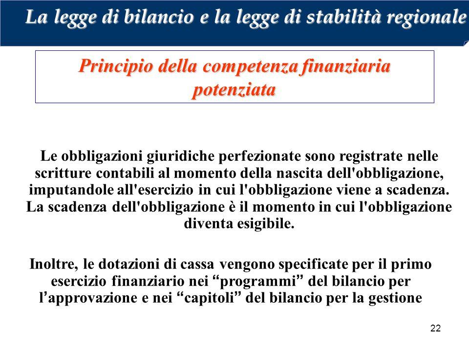 22 Principio della competenza finanziaria potenziata Le obbligazioni giuridiche perfezionate sono registrate nelle scritture contabili al momento della nascita dell obbligazione, imputandole all esercizio in cui l obbligazione viene a scadenza.