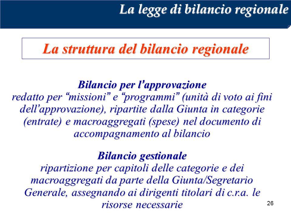 26 La struttura del bilancio regionale La legge di bilancio regionale Bilancio per l'approvazione redatto per missioni e programmi (unità di voto ai fini dell'approvazione), ripartite dalla Giunta in categorie (entrate) e macroaggregati (spese) nel documento di accompagnamento al bilancio Bilancio gestionale ripartizione per capitoli delle categorie e dei macroaggregati da parte della Giunta/Segretario Generale, assegnando ai dirigenti titolari di c.r.a.