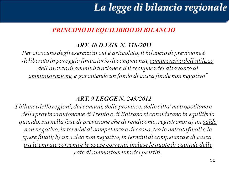 30 PRINCIPIO DI EQUILIBRIO DI BILANCIO ART. 40 D.LGS. N. 118/2011 Per ciascuno degli esercizi in cui è articolato, il bilancio di previsione è deliber