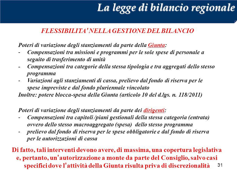 31 FLESSIBILITA' NELLA GESTIONE DEL BILANCIO La legge di bilancio regionale Poteri di variazione degli stanziamenti da parte della Giunta: -Compensazi