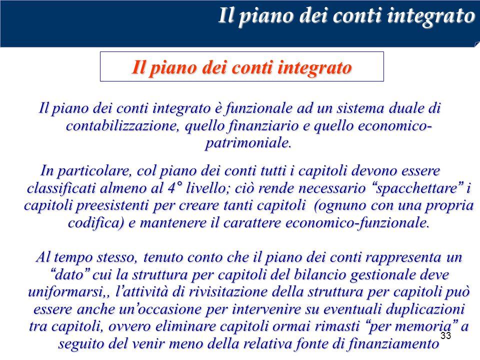33 Il piano dei conti integrato Il piano dei conti integrato è funzionale ad un sistema duale di contabilizzazione, quello finanziario e quello economico- patrimoniale.