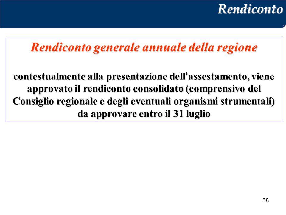 35 Rendiconto generale annuale della regione contestualmente alla presentazione dell'assestamento, viene approvato il rendiconto consolidato (comprensivo del Consiglio regionale e degli eventuali organismi strumentali) da approvare entro il 31 luglio Rendiconto