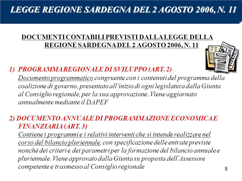 5 DOCUMENTI CONTABILI PREVISTI DALLA LEGGE DELLA REGIONE SARDEGNA DEL 2 AGOSTO 2006, N. 11 1)PROGRAMMA REGIONALE DI SVILUPPO (ART. 2) Documento progra