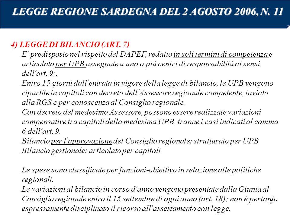 6 4) LEGGE DI BILANCIO (ART. 7) E' predisposto nel rispetto del DAPEF, redatto in soli termini di competenza e articolato per UPB assegnate a uno o pi