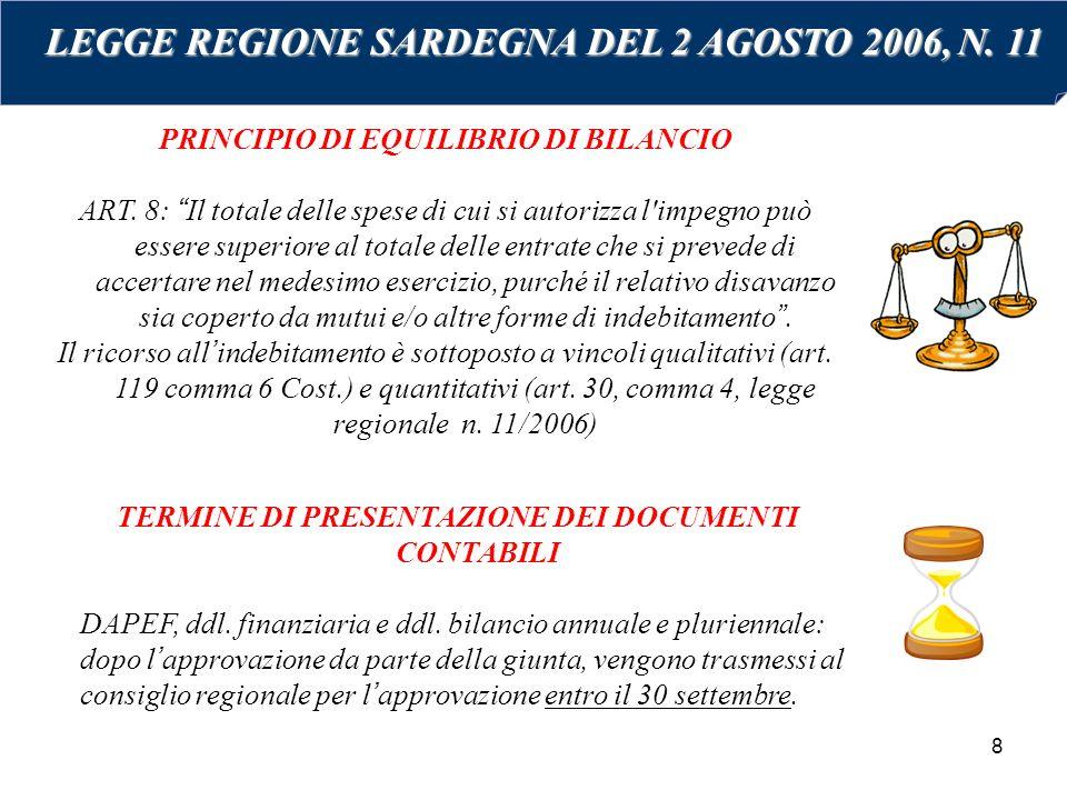 8 PRINCIPIO DI EQUILIBRIO DI BILANCIO ART.