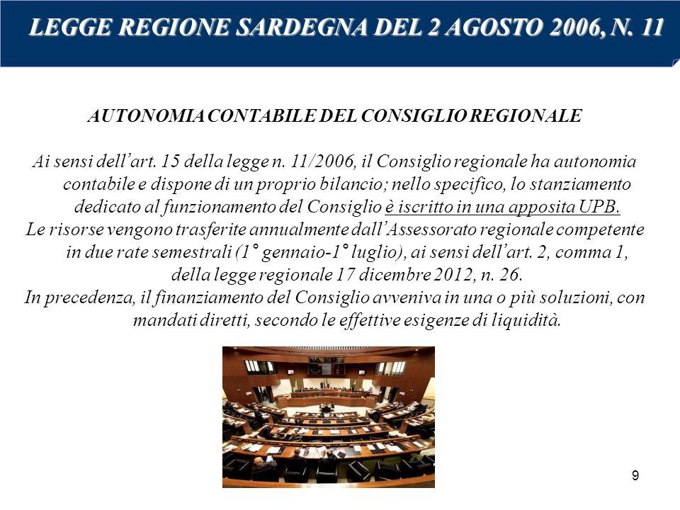 9 AUTONOMIA CONTABILE DEL CONSIGLIO REGIONALE Ai sensi dell'art. 15 della legge n. 11/2006, il Consiglio regionale ha autonomia contabile e dispone di