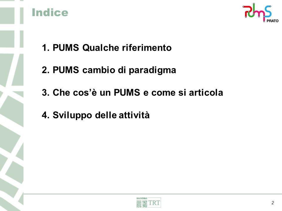 1.PUMS Qualche riferimento 2.PUMS cambio di paradigma 3.Che cos'è un PUMS e come si articola 4.Sviluppo delle attività 2 Indice
