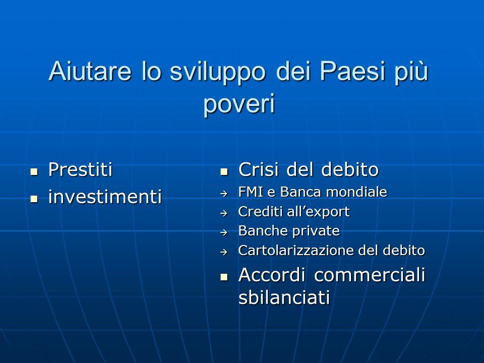 Aiutare lo sviluppo dei Paesi più poveri Prestiti Prestiti investimenti investimenti Crisi del debito Crisi del debito  FMI e Banca mondiale  Crediti all'export  Banche private  Cartolarizzazione del debito Accordi commerciali sbilanciati Accordi commerciali sbilanciati