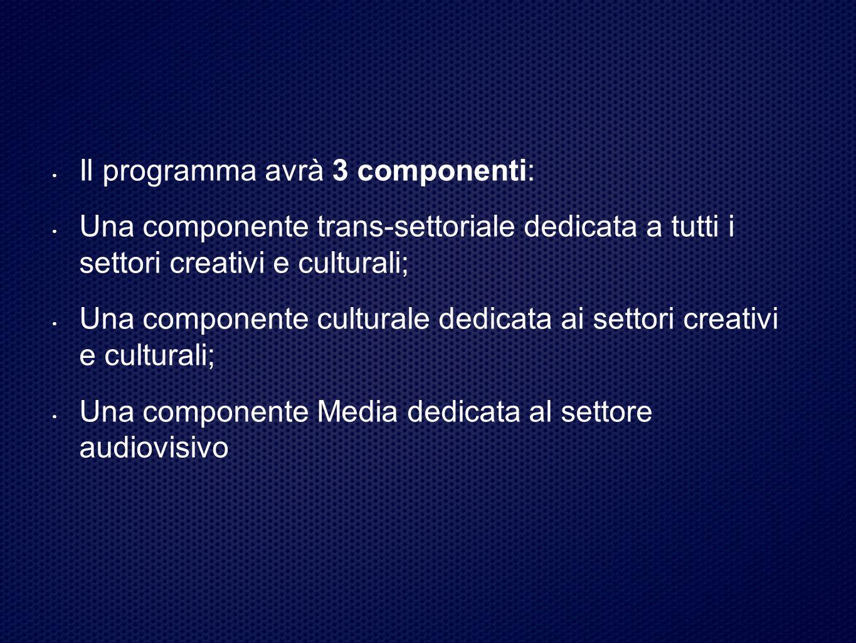 Il programma avrà 3 componenti: Una componente trans-settoriale dedicata a tutti i settori creativi e culturali; Una componente culturale dedicata ai settori creativi e culturali; Una componente Media dedicata al settore audiovisivo