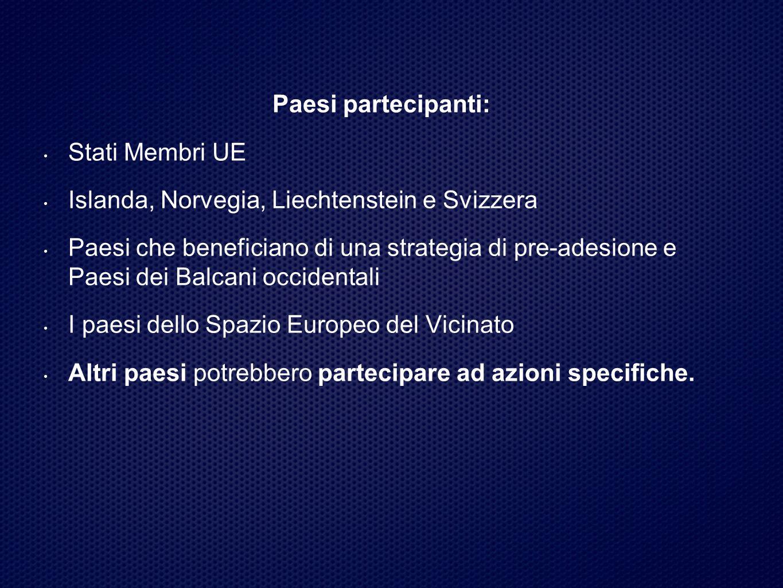 Paesi partecipanti: Stati Membri UE Islanda, Norvegia, Liechtenstein e Svizzera Paesi che beneficiano di una strategia di pre-adesione e Paesi dei Balcani occidentali I paesi dello Spazio Europeo del Vicinato Altri paesi potrebbero partecipare ad azioni specifiche.
