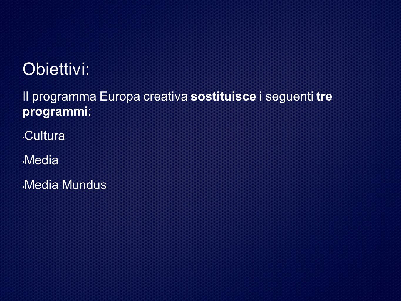 Obiettivi: Il programma Europa creativa sostituisce i seguenti tre programmi: Cultura Media Media Mundus