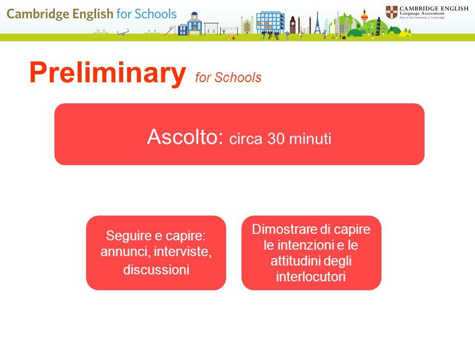 Preliminary for Schools Seguire e capire: annunci, interviste, discussioni Dimostrare di capire le intenzioni e le attitudini degli interlocutori Ascolto: circa 30 minuti