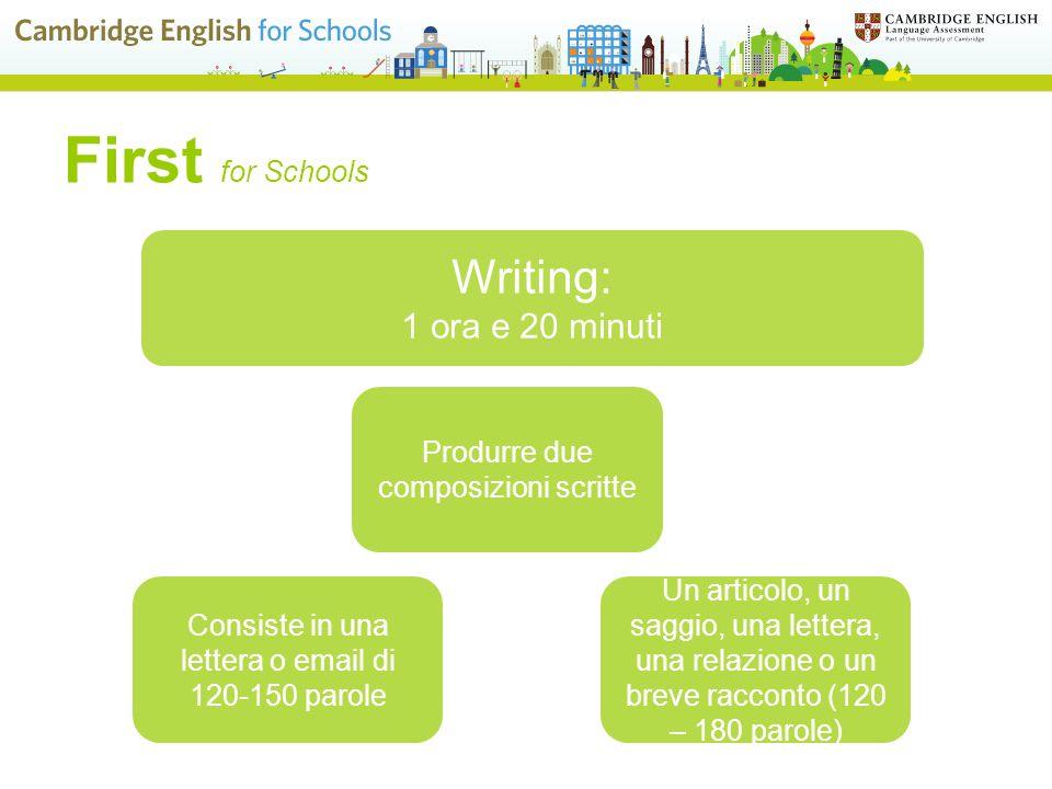 First for Schools Writing: 1 ora e 20 minuti Un articolo, un saggio, una lettera, una relazione o un breve racconto (120 – 180 parole) Produrre due composizioni scritte Consiste in una lettera o email di 120-150 parole