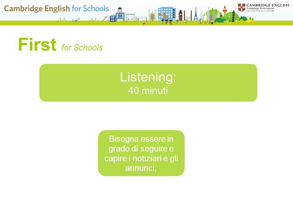 First for Schools Speaking: 15 minuti Si svolge in modalità face-to-face test con uno o due candidati Affrontare una conversazione con un altro/altri candidato/i oppure un monologo davanti ad un esaminatore
