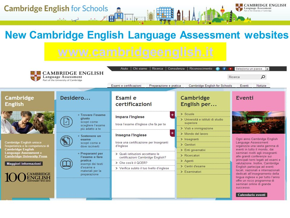 New Cambridge English Language Assessment websites www.cambridgeenglish.org www.cambridgeenglish.it