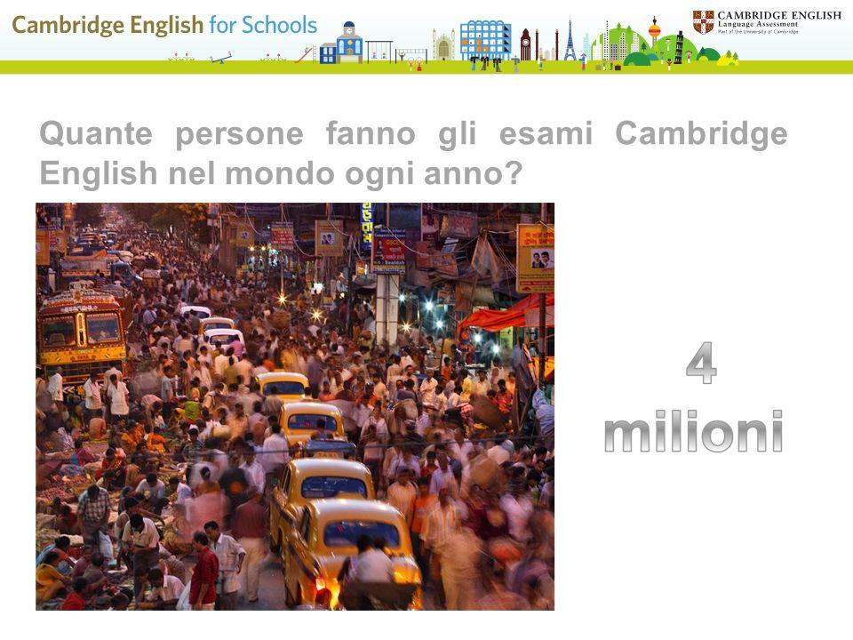 Quante persone fanno gli esami Cambridge English nel mondo ogni anno?