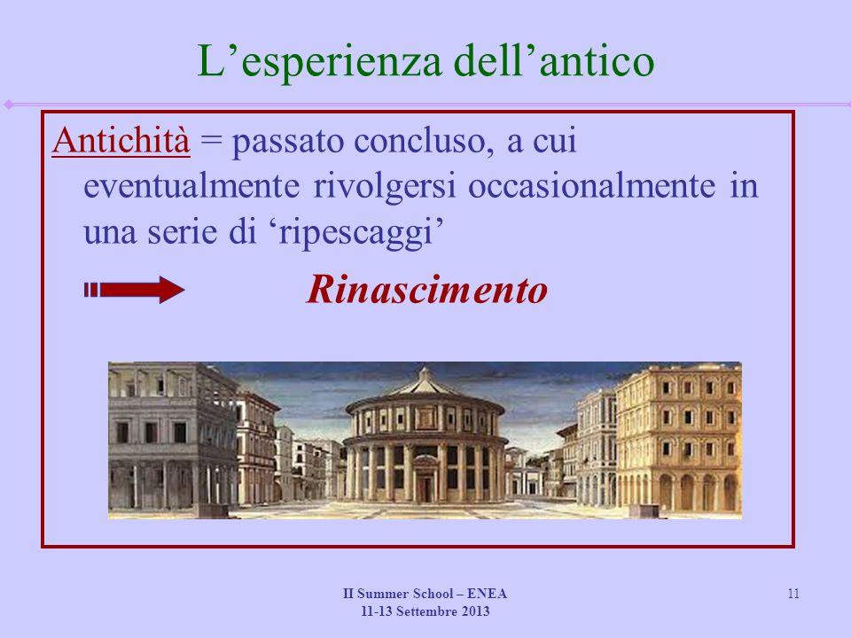 II Summer School – ENEA 11-13 Settembre 2013 11 L'esperienza dell'antico Antichità = passato concluso, a cui eventualmente rivolgersi occasionalmente in una serie di 'ripescaggi' Rinascimento