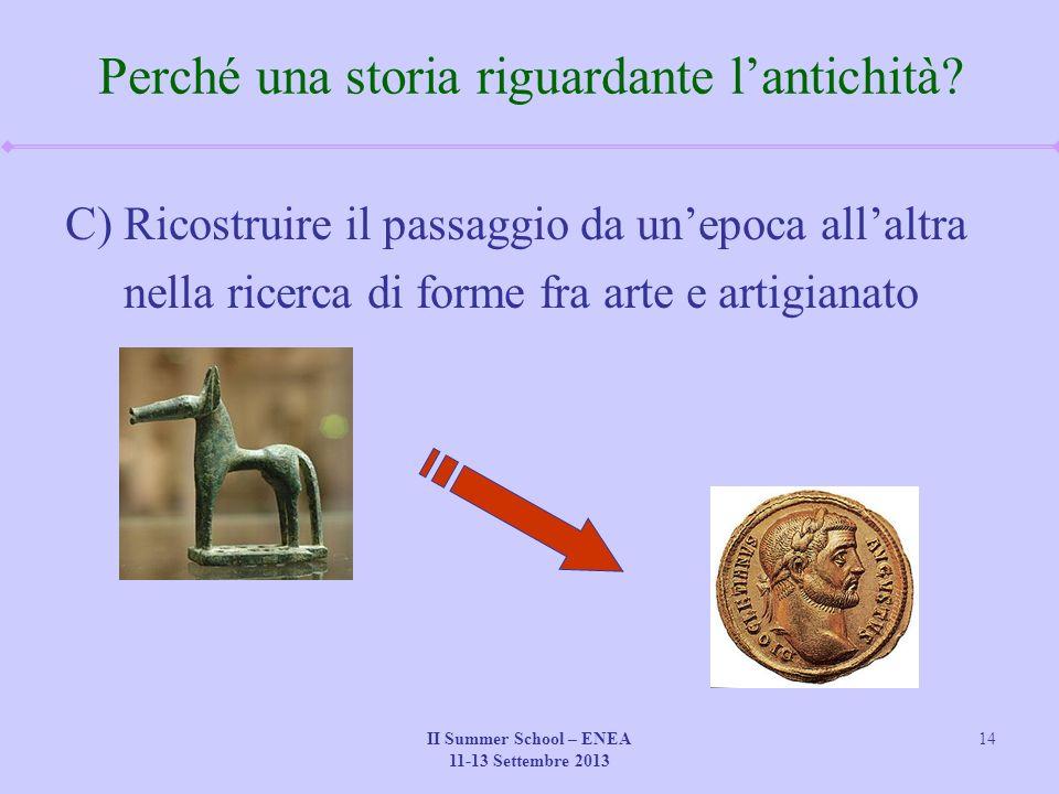 II Summer School – ENEA 11-13 Settembre 2013 14 Perché una storia riguardante l'antichità.
