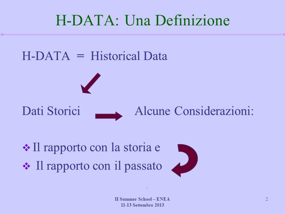 II Summer School – ENEA 11-13 Settembre 2013 2 H-DATA: Una Definizione H-DATA = Historical Data Dati Storici Alcune Considerazioni:  Il rapporto con la storia e  Il rapporto con il passato
