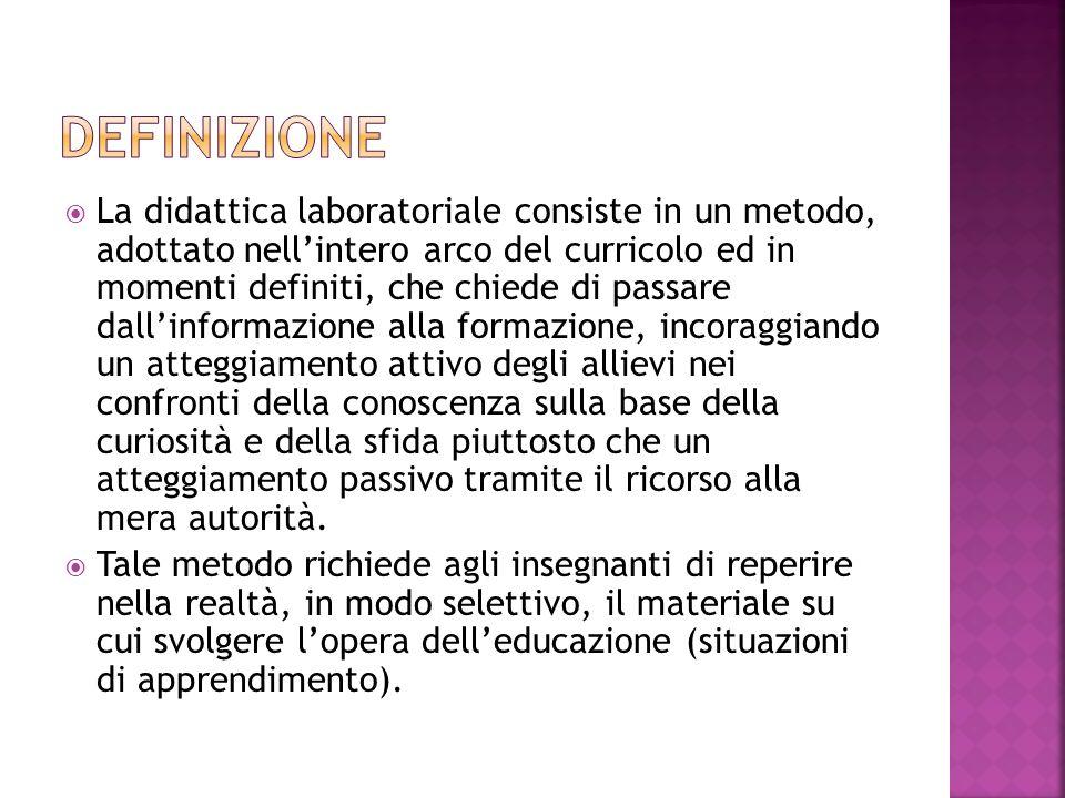  La didattica laboratoriale consiste in un metodo, adottato nell'intero arco del curricolo ed in momenti definiti, che chiede di passare dall'informa