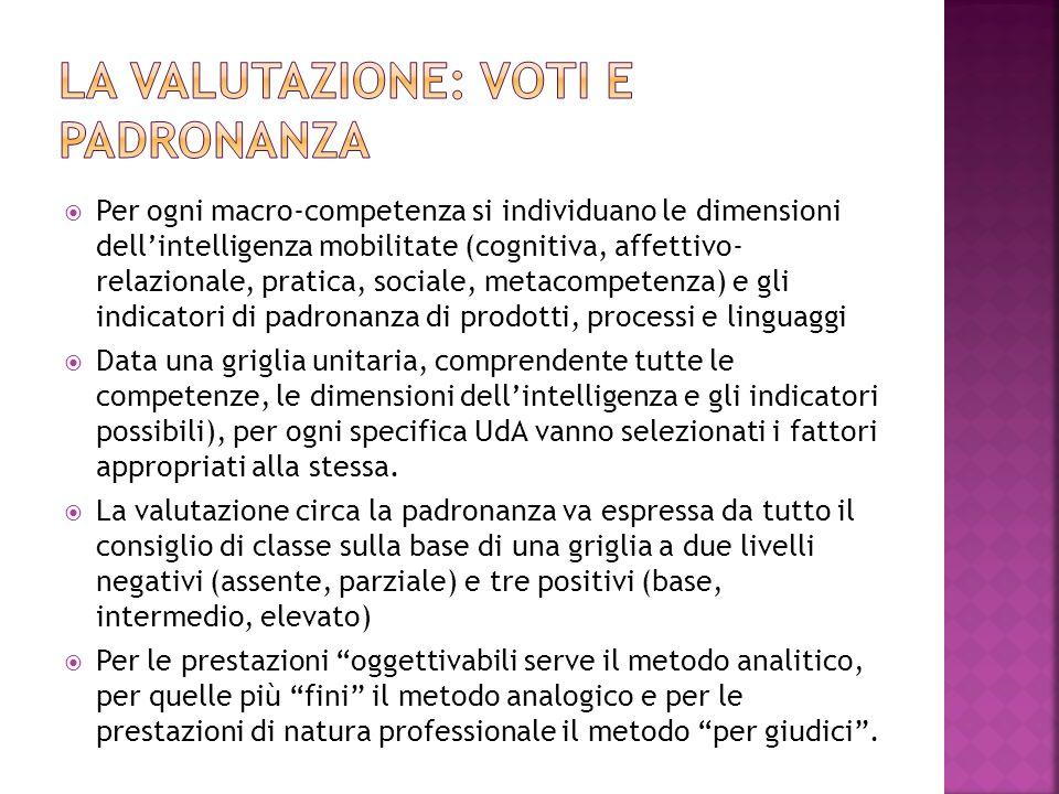  Per ogni macro-competenza si individuano le dimensioni dell'intelligenza mobilitate (cognitiva, affettivo- relazionale, pratica, sociale, metacompet