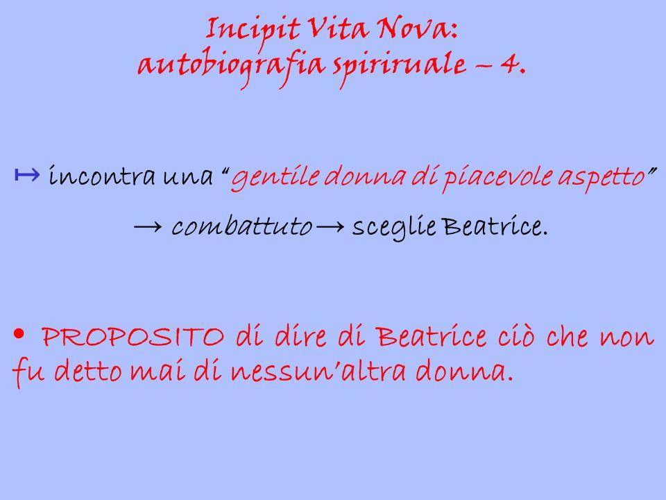 """↦ incontra una """"gentile donna di piacevole aspetto"""" → combattuto → sceglie Beatrice. PROPOSITO di dire di Beatrice ciò che non fu detto mai di nessun'"""