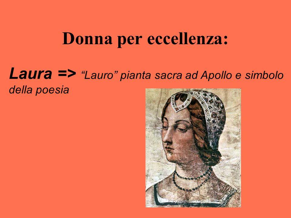"""Donna per eccellenza: Laura => """"Lauro"""" pianta sacra ad Apollo e simbolo della poesia"""