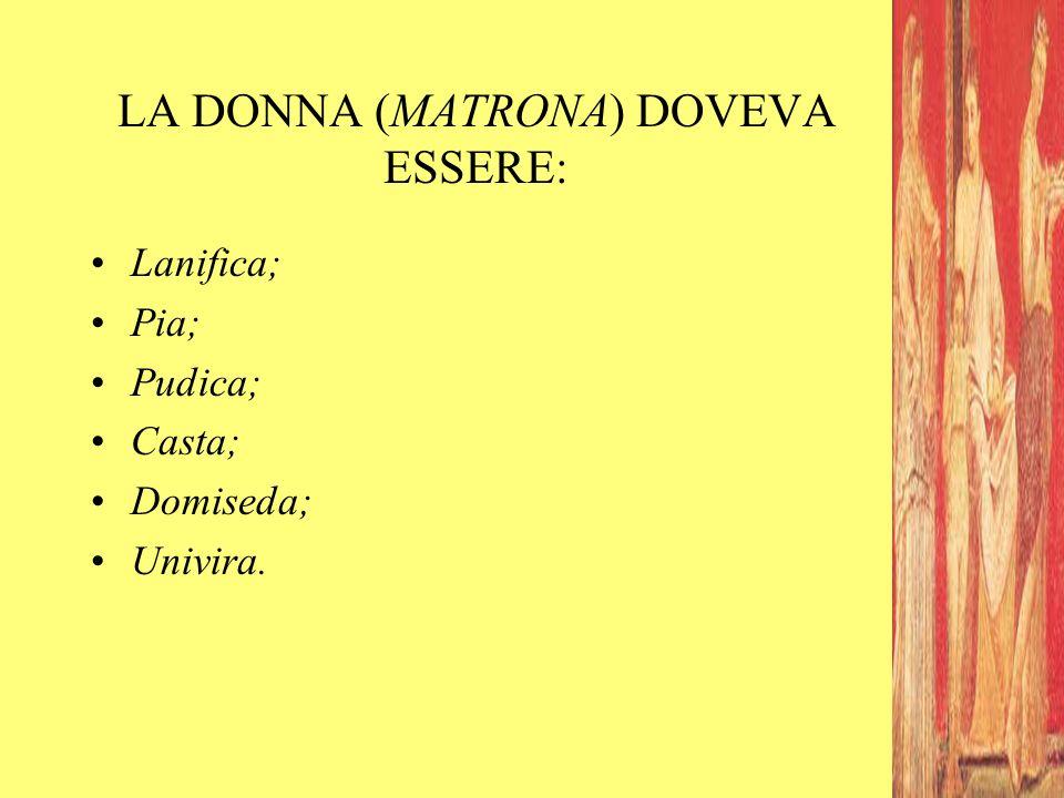 LA DONNA (MATRONA) DOVEVA ESSERE: Lanifica; Pia; Pudica; Casta; Domiseda; Univira.