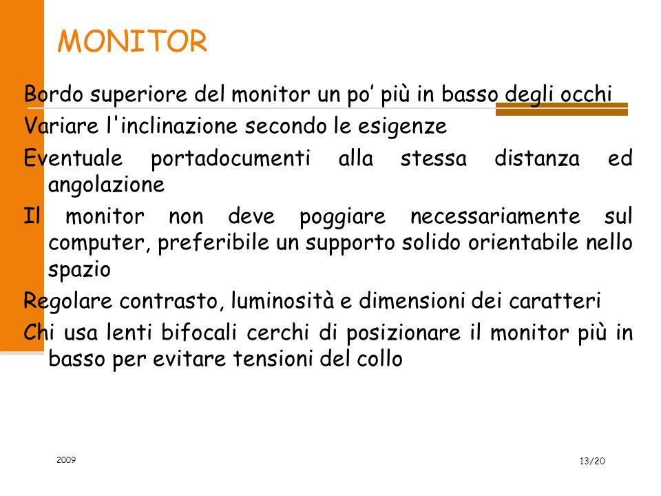 MONITOR Bordo superiore del monitor un po' più in basso degli occhi Variare l'inclinazione secondo le esigenze Eventuale portadocumenti alla stessa di