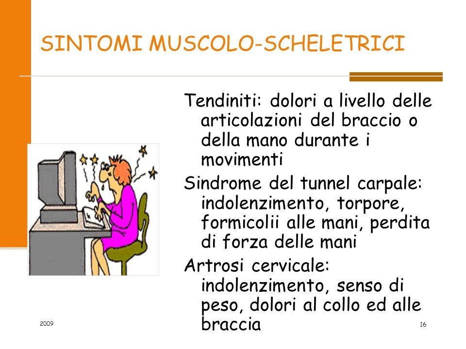 SINTOMI MUSCOLO-SCHELETRICI Tendiniti: dolori a livello delle articolazioni del braccio o della mano durante i movimenti Sindrome del tunnel carpale: