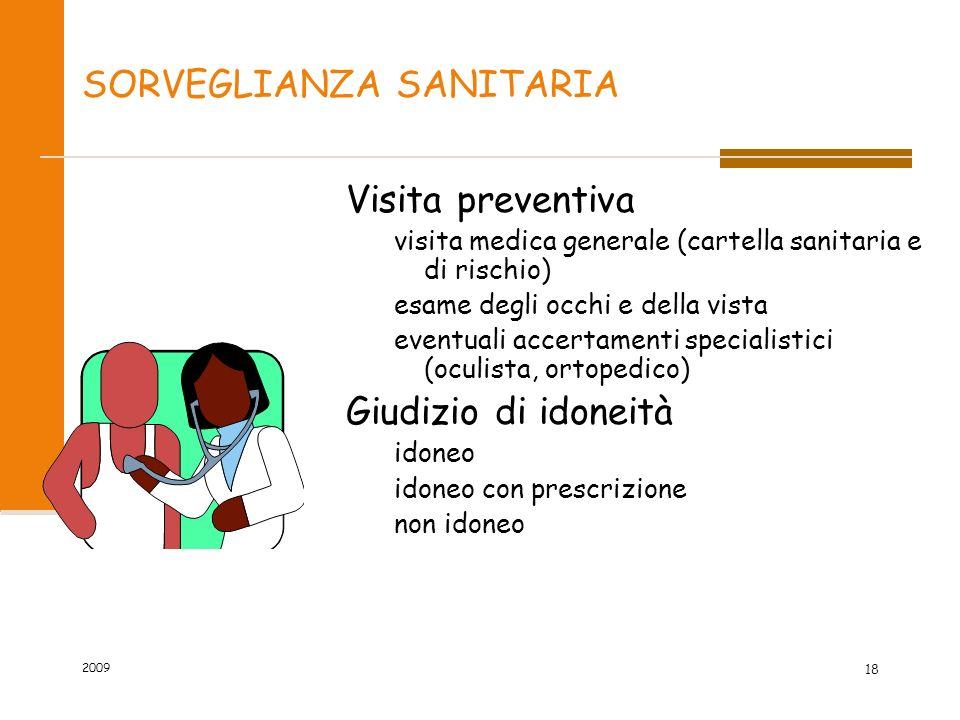 SORVEGLIANZA SANITARIA Visita preventiva visita medica generale (cartella sanitaria e di rischio) esame degli occhi e della vista eventuali accertamen