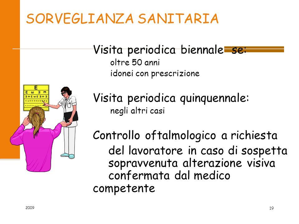 SORVEGLIANZA SANITARIA Visita periodica biennale se: oltre 50 anni idonei con prescrizione Visita periodica quinquennale: negli altri casi Controllo o
