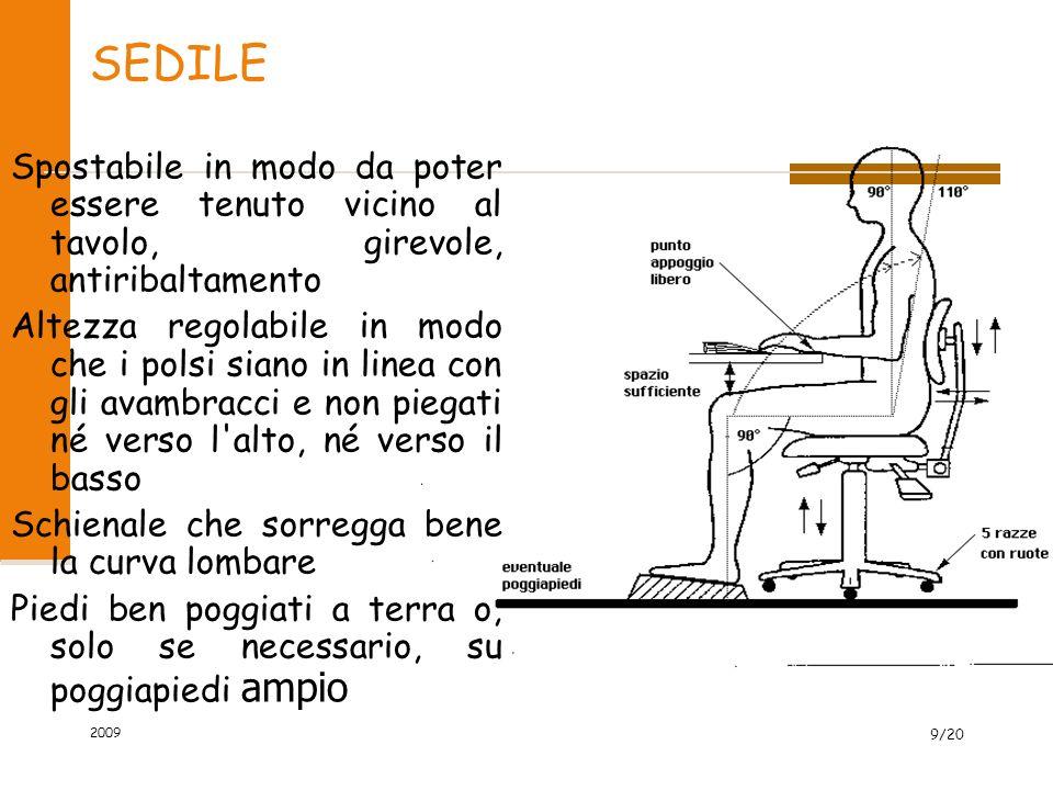 SEDILE Spostabile in modo da poter essere tenuto vicino al tavolo, girevole, antiribaltamento Altezza regolabile in modo che i polsi siano in linea co