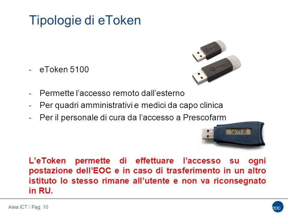 Area ICT / Pag. 10 Tipologie di eToken -eToken 5100 -Permette l'accesso remoto dall'esterno -Per quadri amministrativi e medici da capo clinica -Per i