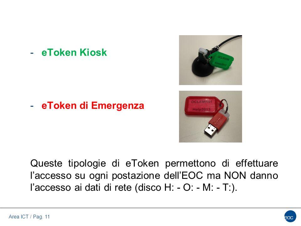 Area ICT / Pag. 11 -eToken Kiosk -eToken di Emergenza Queste tipologie di eToken permettono di effettuare l'accesso su ogni postazione dell'EOC ma NON