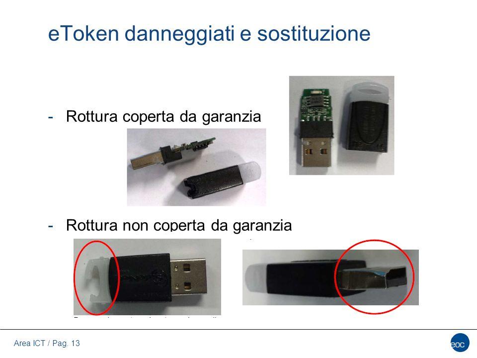 Area ICT / Pag. 13 eToken danneggiati e sostituzione -Rottura coperta da garanzia -Rottura non coperta da garanzia