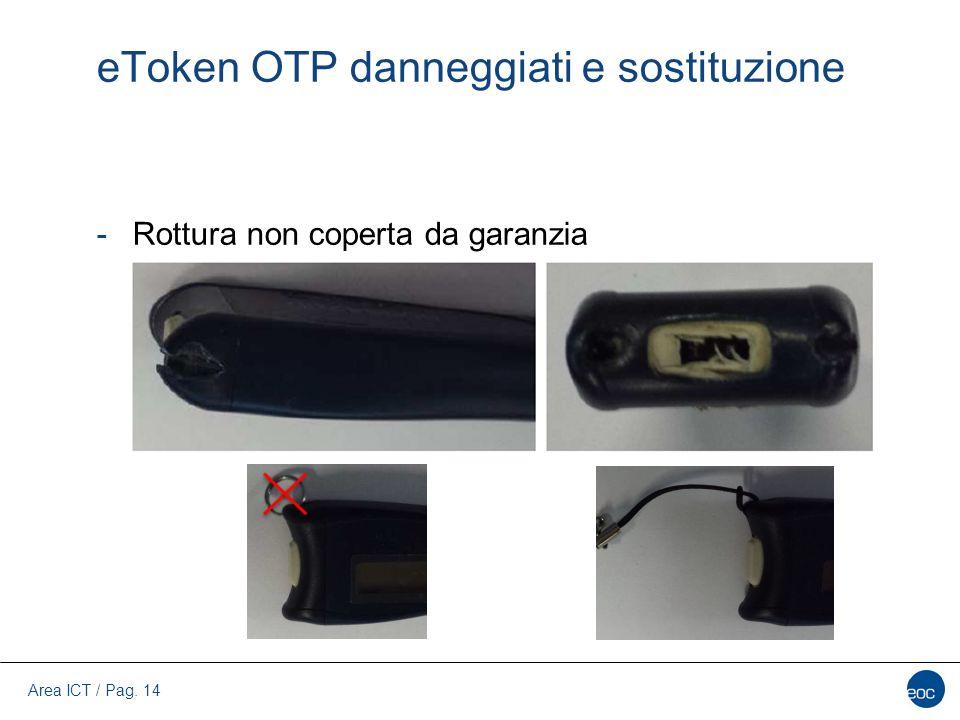Area ICT / Pag. 14 eToken OTP danneggiati e sostituzione -Rottura non coperta da garanzia