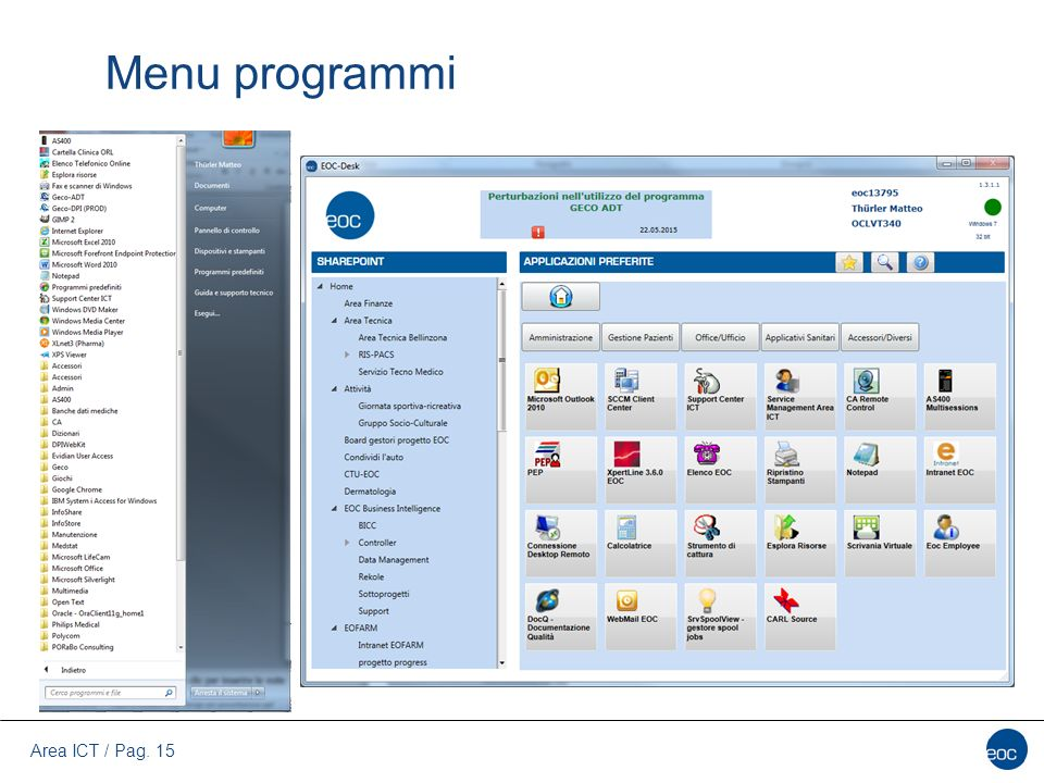 Area ICT / Pag. 15 Menu programmi