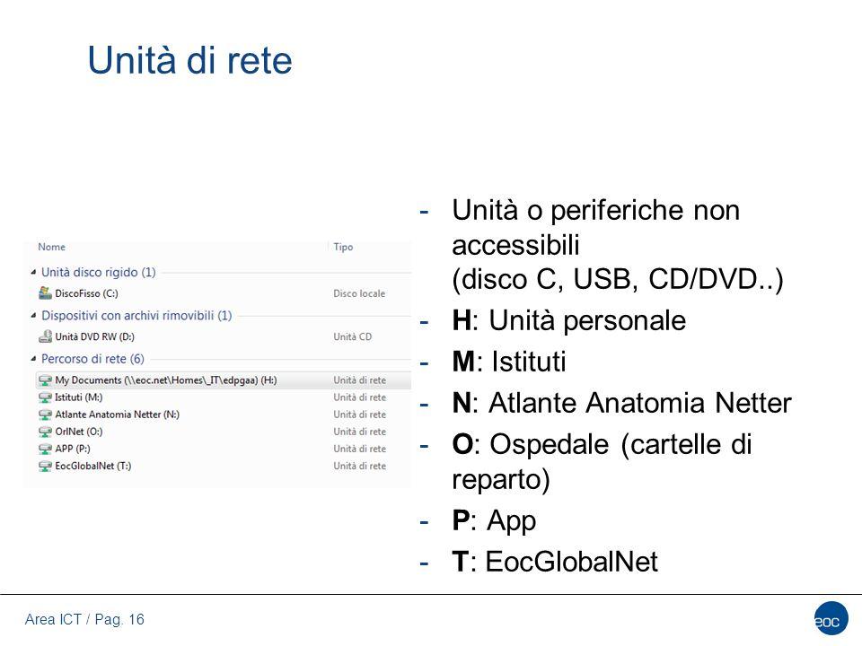 Area ICT / Pag. 16 Unità di rete -Unità o periferiche non accessibili (disco C, USB, CD/DVD..) -H: Unità personale -M: Istituti -N: Atlante Anatomia N