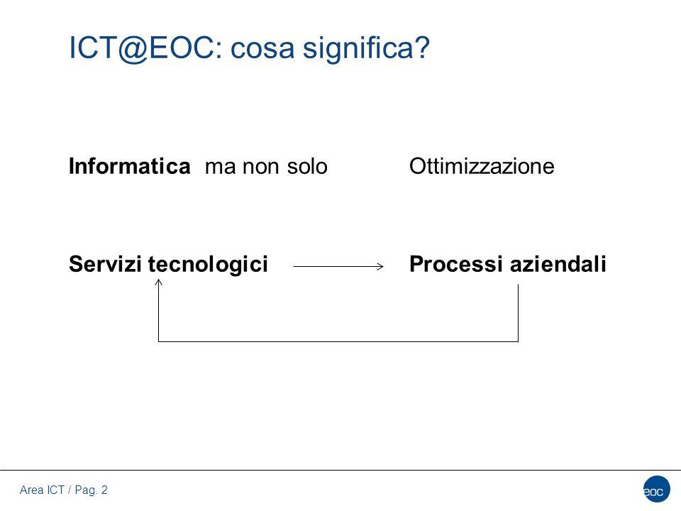 Area ICT / Pag. 2 ICT@EOC: cosa significa? Informatica ma non soloOttimizzazione Servizi tecnologiciProcessi aziendali