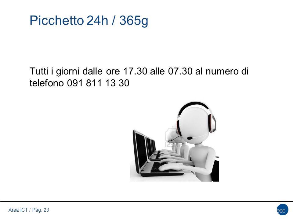 Area ICT / Pag. 23 Picchetto 24h / 365g Tutti i giorni dalle ore 17.30 alle 07.30 al numero di telefono 091 811 13 30