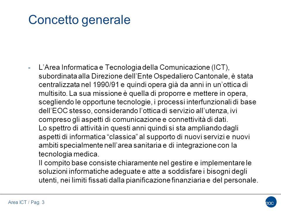 Area ICT / Pag. 3 Concetto generale -L'Area Informatica e Tecnologia della Comunicazione (ICT), subordinata alla Direzione dell'Ente Ospedaliero Canto
