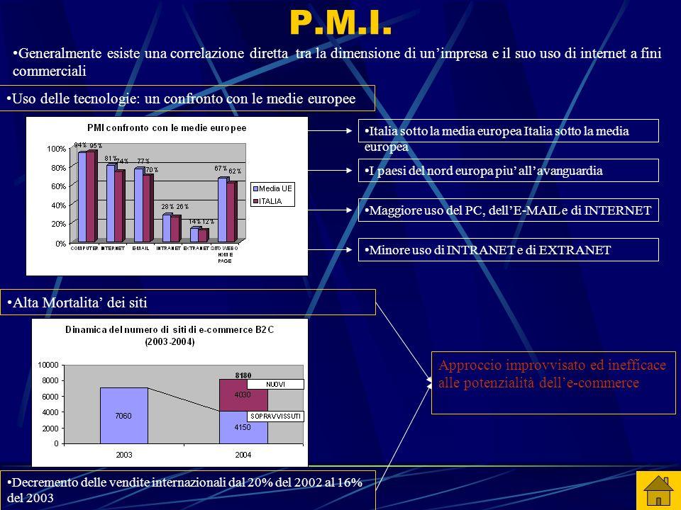 P.M.I. Generalmente esiste una correlazione diretta tra la dimensione di un'impresa e il suo uso di internet a fini commerciali Uso delle tecnologie: