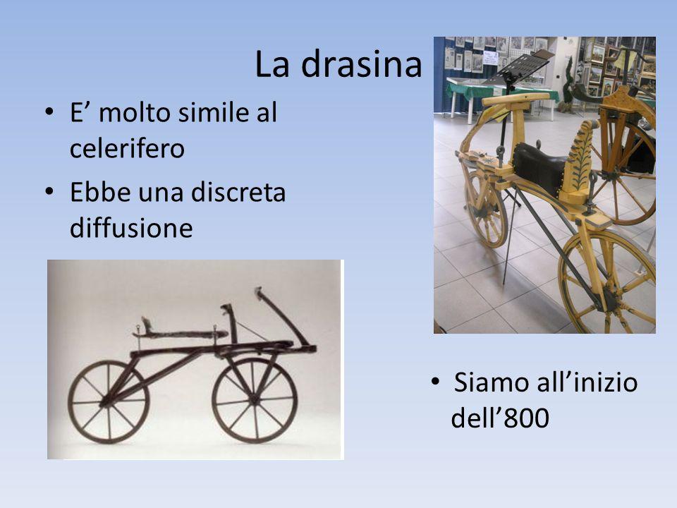 Il velocipede A metà dell'800 compaiono i pedali Sono inseriti al centro della ruota Funziona come un triciclo
