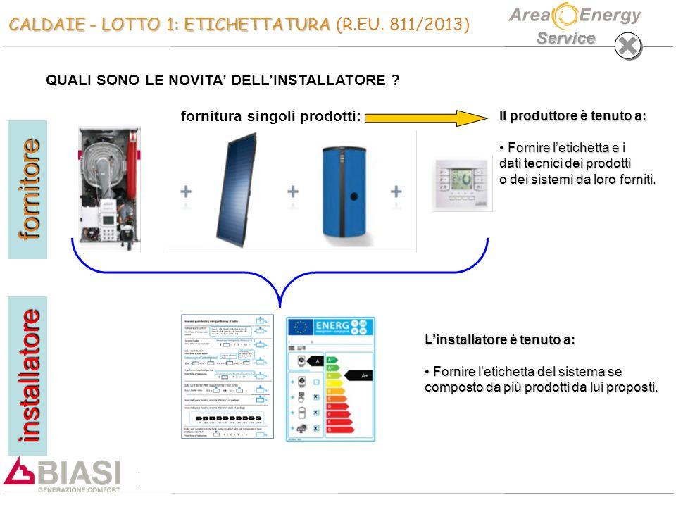 Service CALDAIE - LOTTO 1: ETICHETTATURA CALDAIE - LOTTO 1: ETICHETTATURA (R.EU. 811/2013) QUALI SONO LE NOVITA' DELL'INSTALLATORE ? fornitura singoli