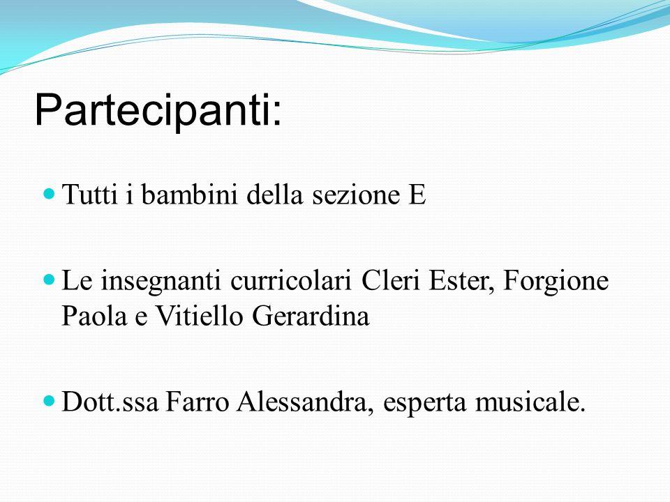Partecipanti: Tutti i bambini della sezione E Le insegnanti curricolari Cleri Ester, Forgione Paola e Vitiello Gerardina Dott.ssa Farro Alessandra, esperta musicale.