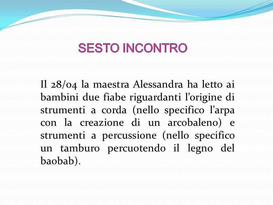 Il 28/04 la maestra Alessandra ha letto ai bambini due fiabe riguardanti l'origine di strumenti a corda (nello specifico l'arpa con la creazione di un