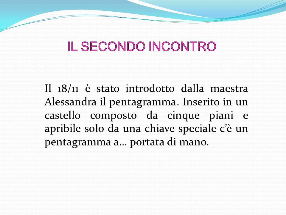 Il 18/11 è stato introdotto dalla maestra Alessandra il pentagramma. Inserito in un castello composto da cinque piani e apribile solo da una chiave sp