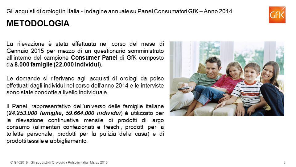 2© GfK 2015 | Gli acquisti di Orologi da Polso in Italia | Marzo 2015 La rilevazione è stata effettuata nel corso del mese di Gennaio 2015 per mezzo d
